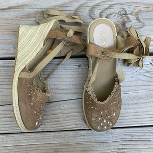 Skecher's Cali Espadrille Wedge with Beaded Toe